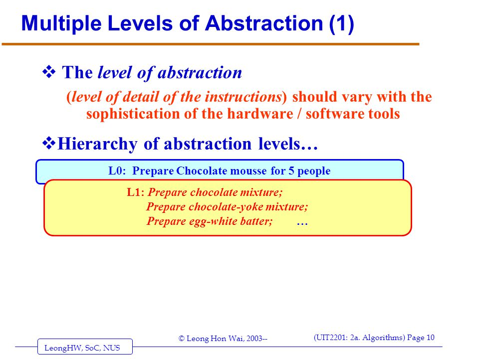 Multiple Levels of Abstraction (1)