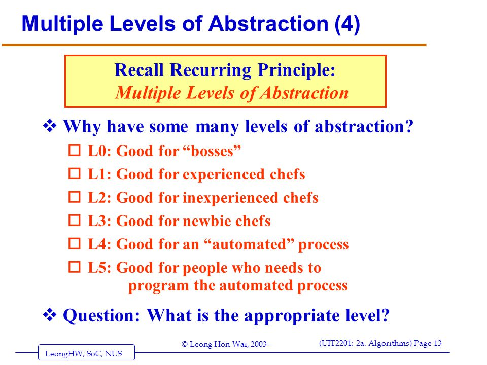 Multiple Levels of Abstraction (4)