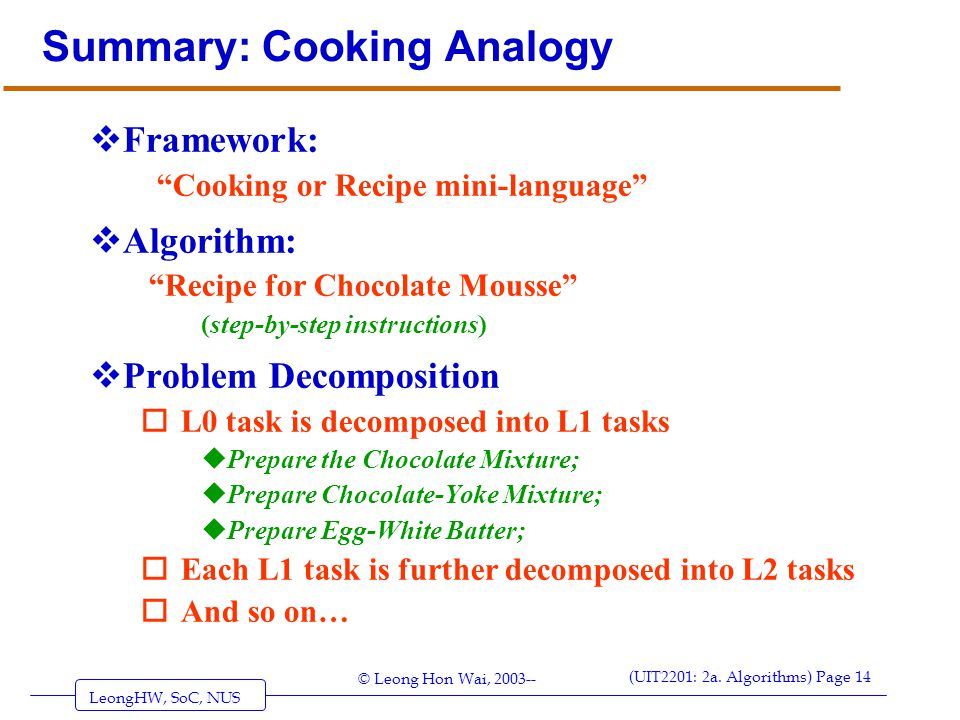 Summary: Cooking Analogy