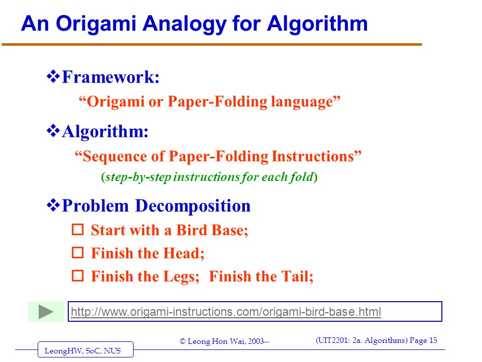 An Origami Analogy for Algorithm