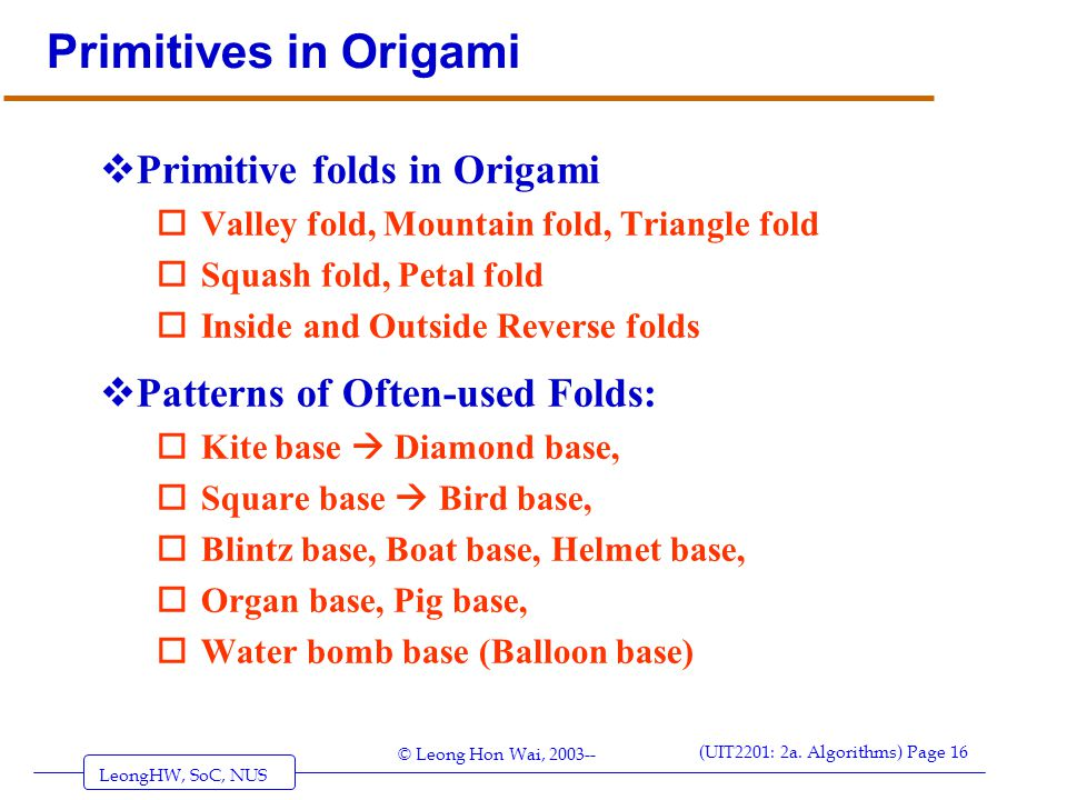 Primitives in Origami Primitive folds in Origami