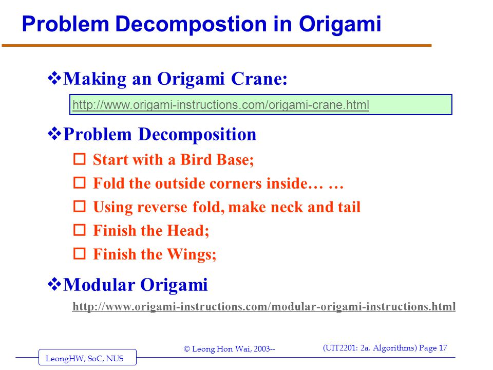 Problem Decompostion in Origami