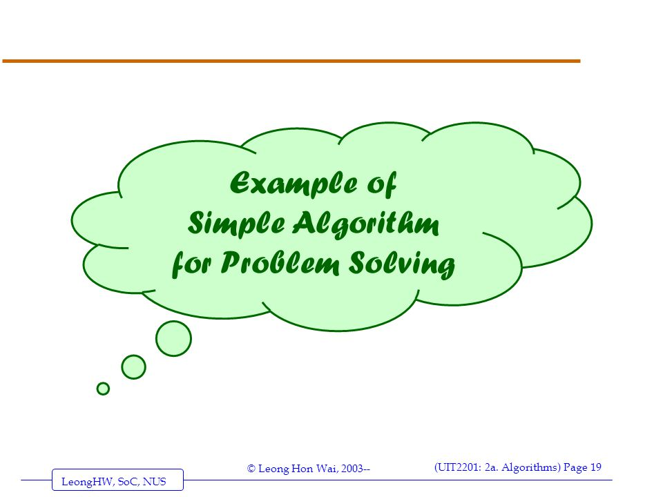 example of algorithm problem solving