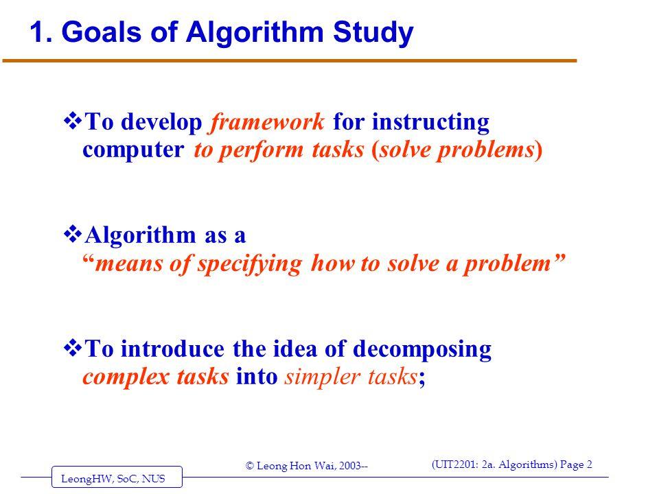 1. Goals of Algorithm Study
