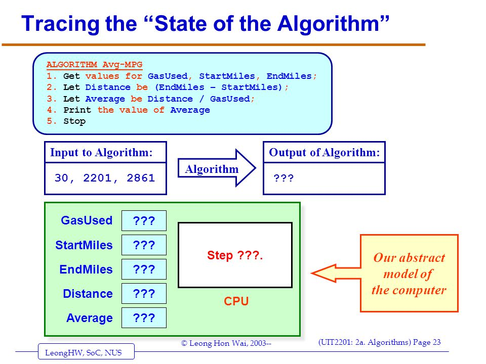 Tracing the State of the Algorithm