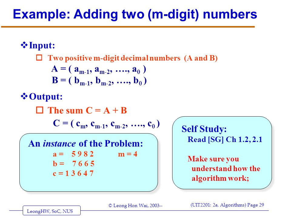 Example: Adding two (m-digit) numbers