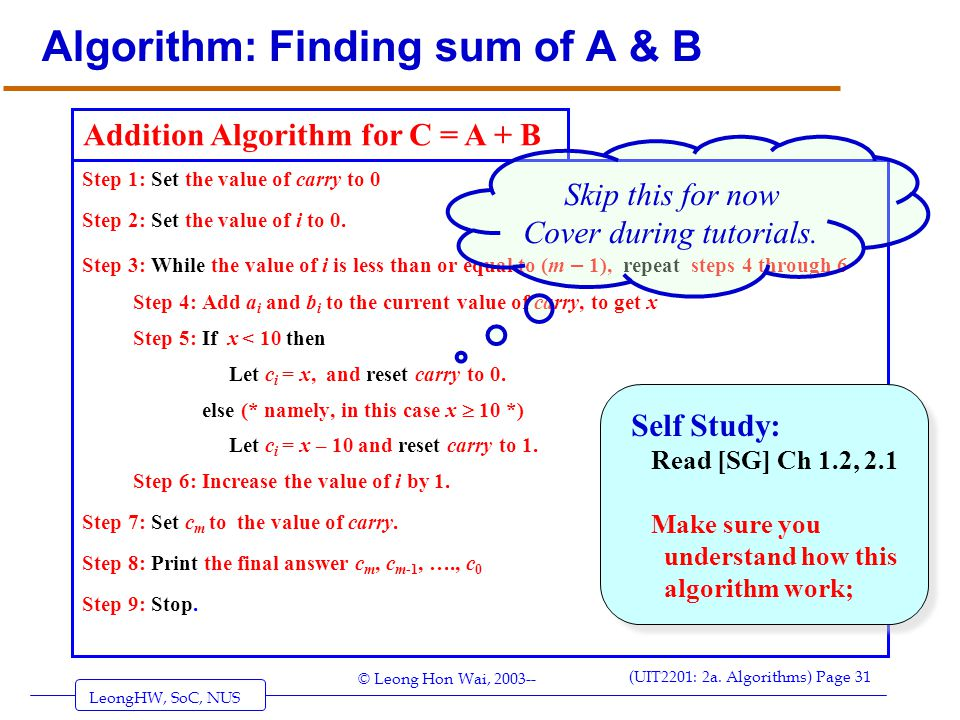 Algorithm: Finding sum of A & B
