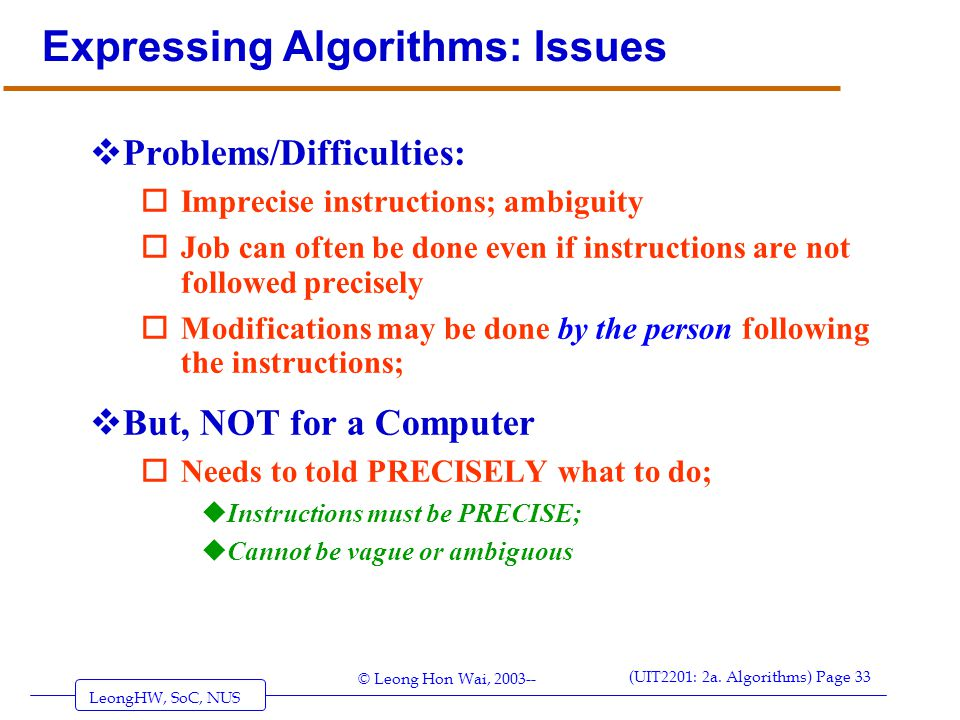 Expressing Algorithms: Issues