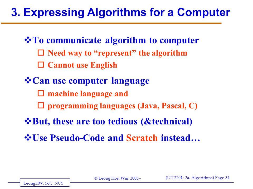 3. Expressing Algorithms for a Computer