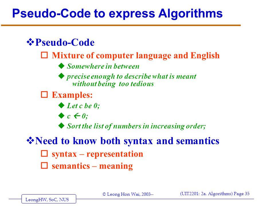 Pseudo-Code to express Algorithms