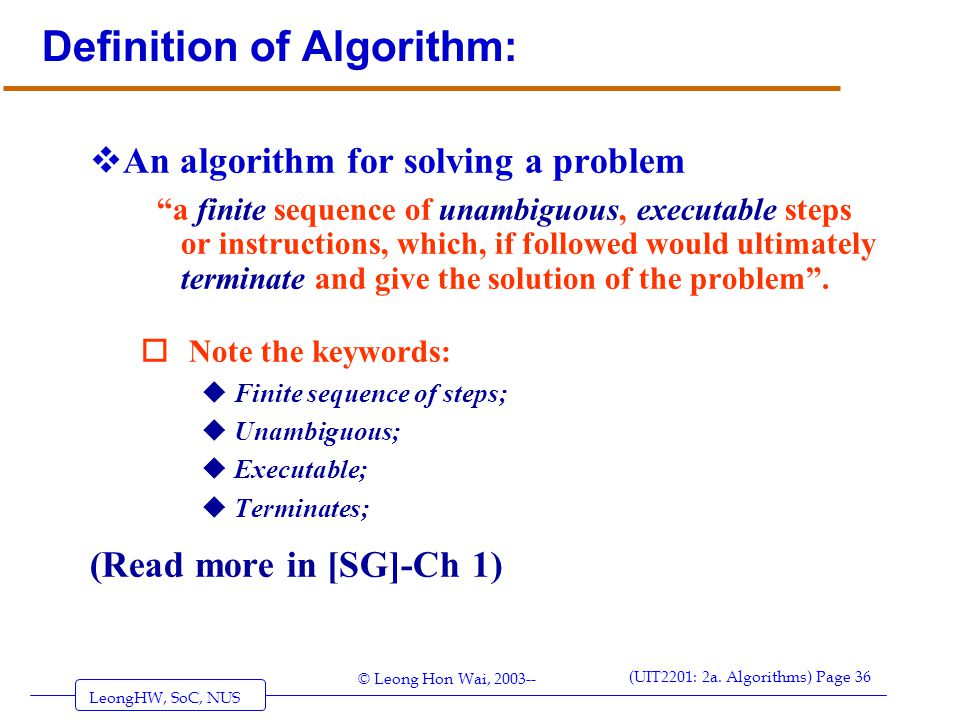 Definition of Algorithm: