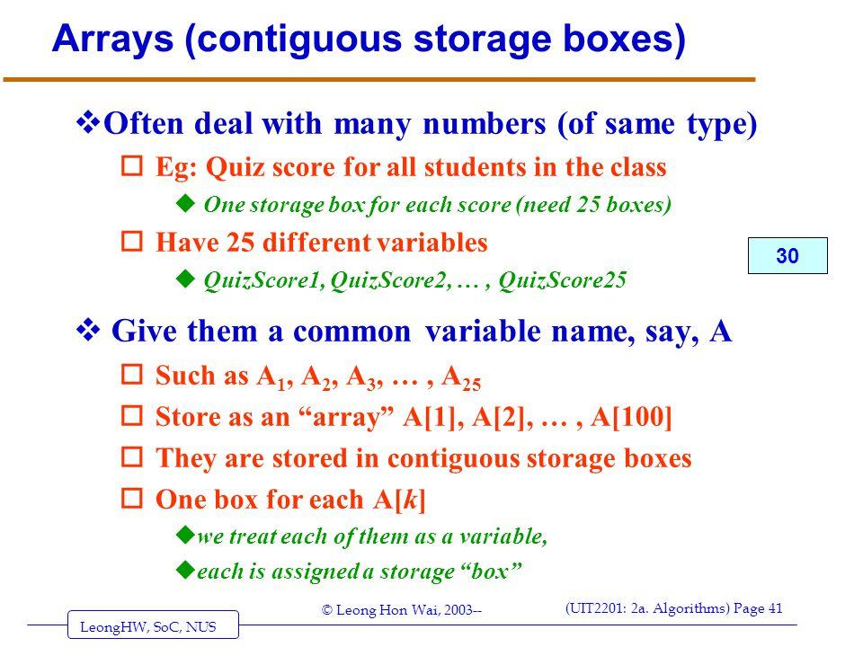 Arrays (contiguous storage boxes)