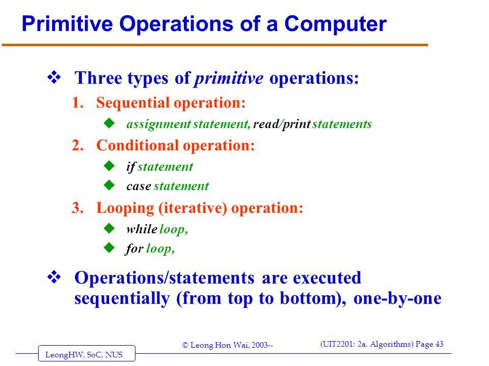 Primitive Operations of a Computer