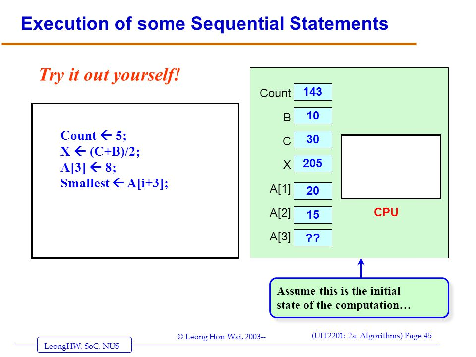 Execution of some Sequential Statements