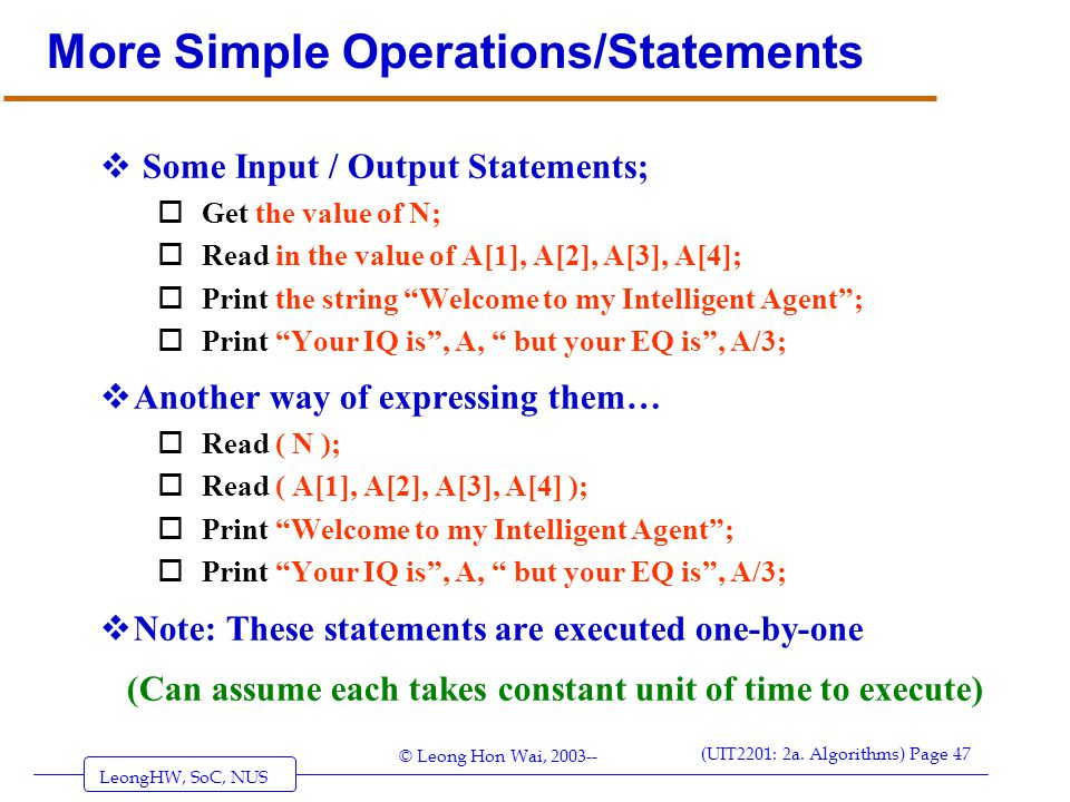 More Simple Operations/Statements