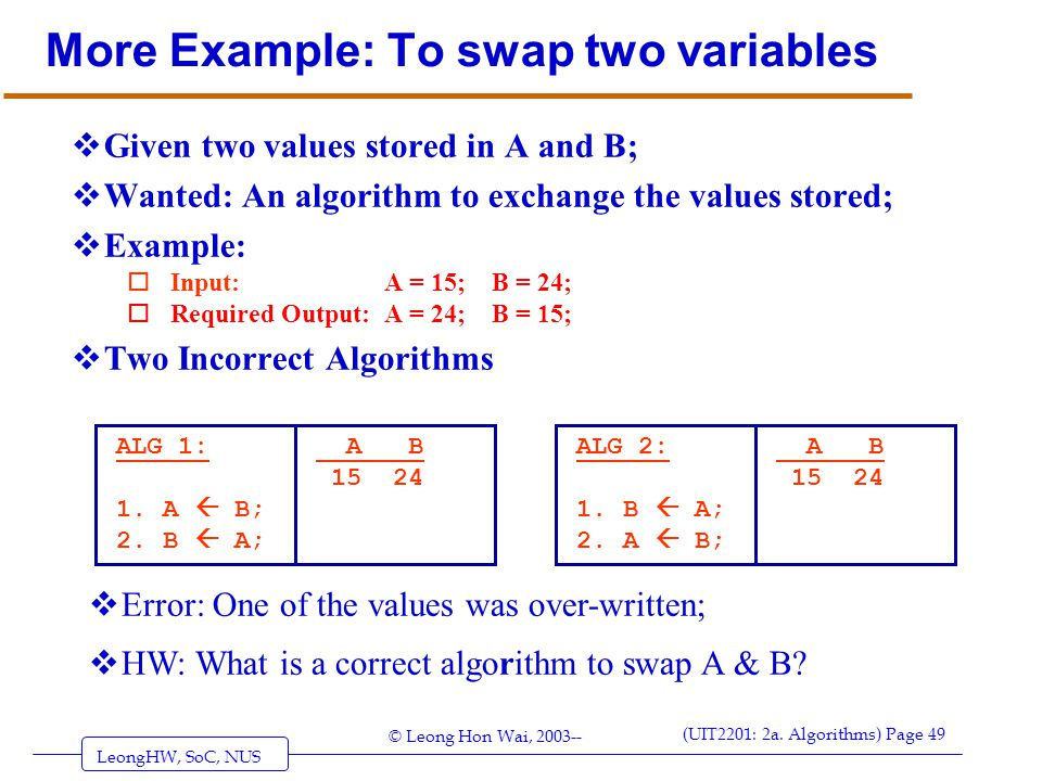 More Example: To swap two variables