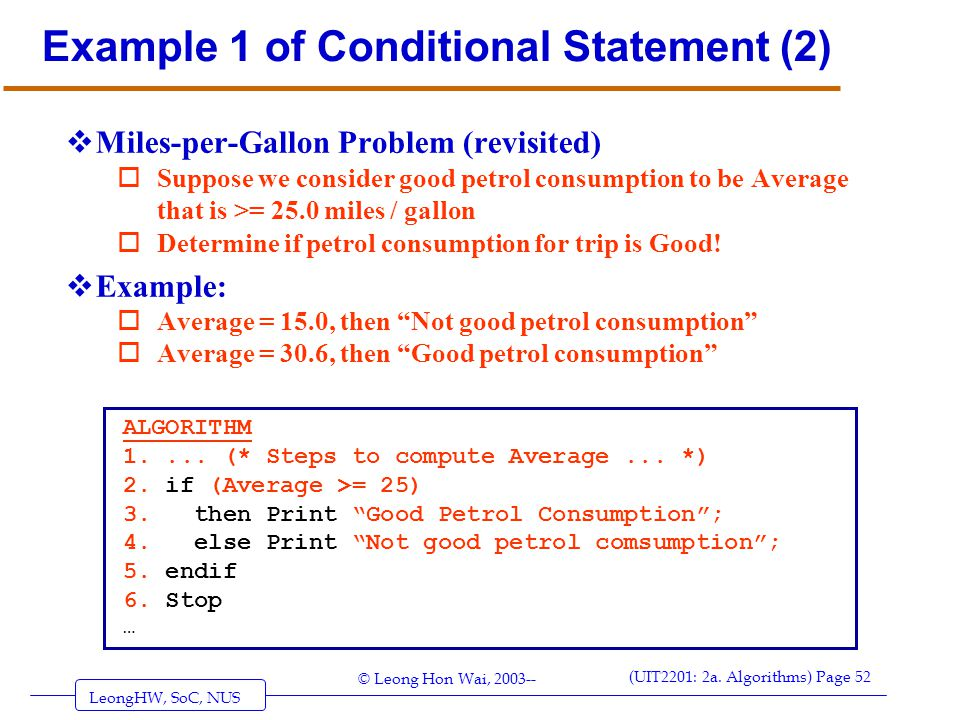 Example 1 of Conditional Statement (2)