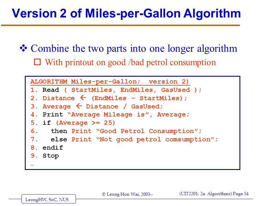 Version 2 of Miles-per-Gallon Algorithm
