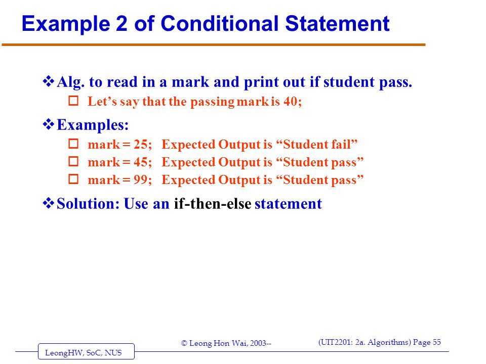 Example 2 of Conditional Statement