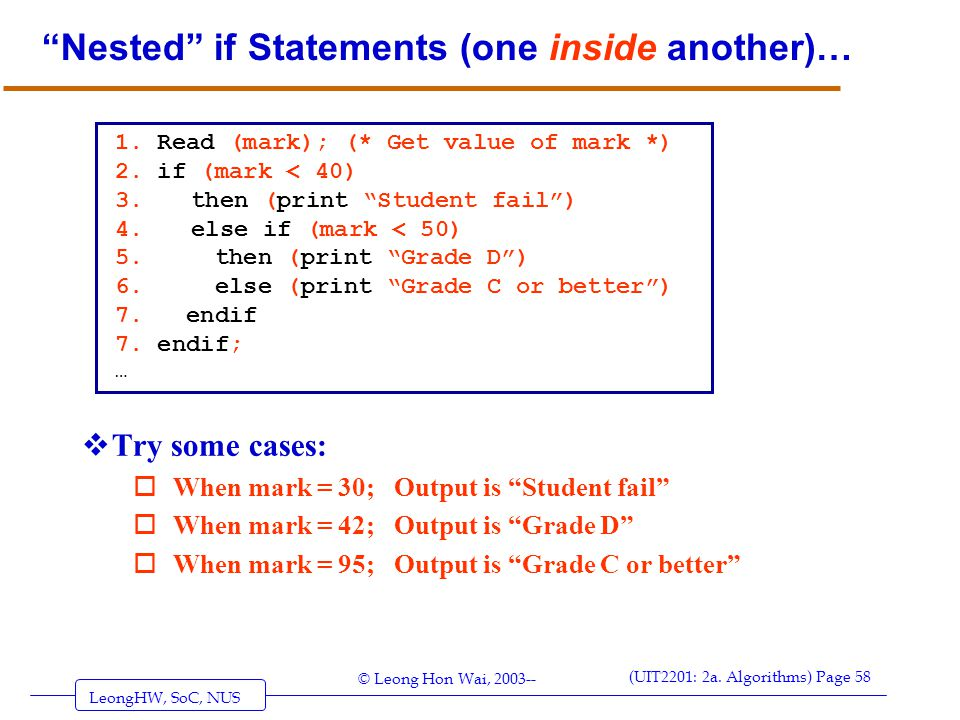 Nested if Statements (one inside another)…