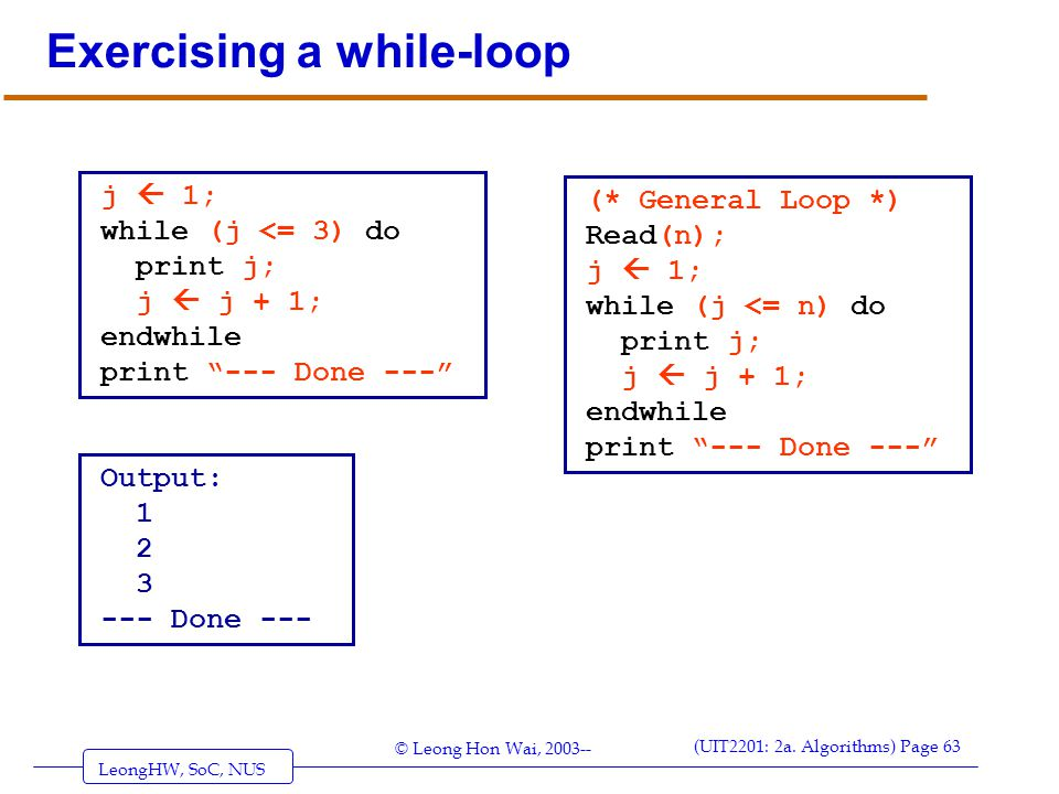 Exercising a while-loop