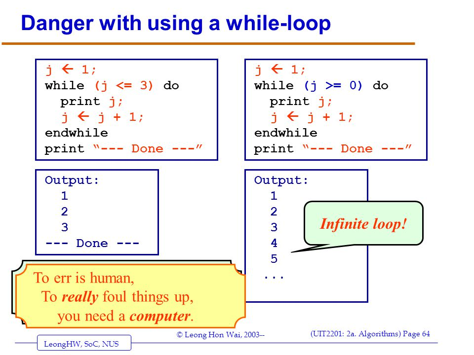 Danger with using a while-loop