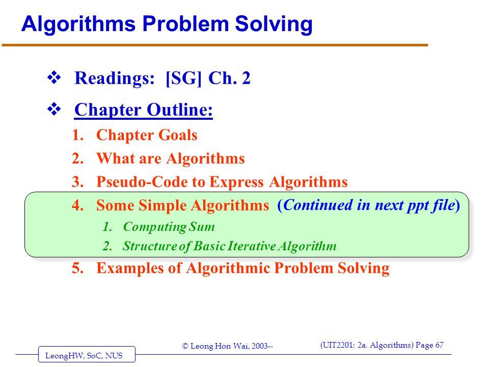 Algorithms Problem Solving