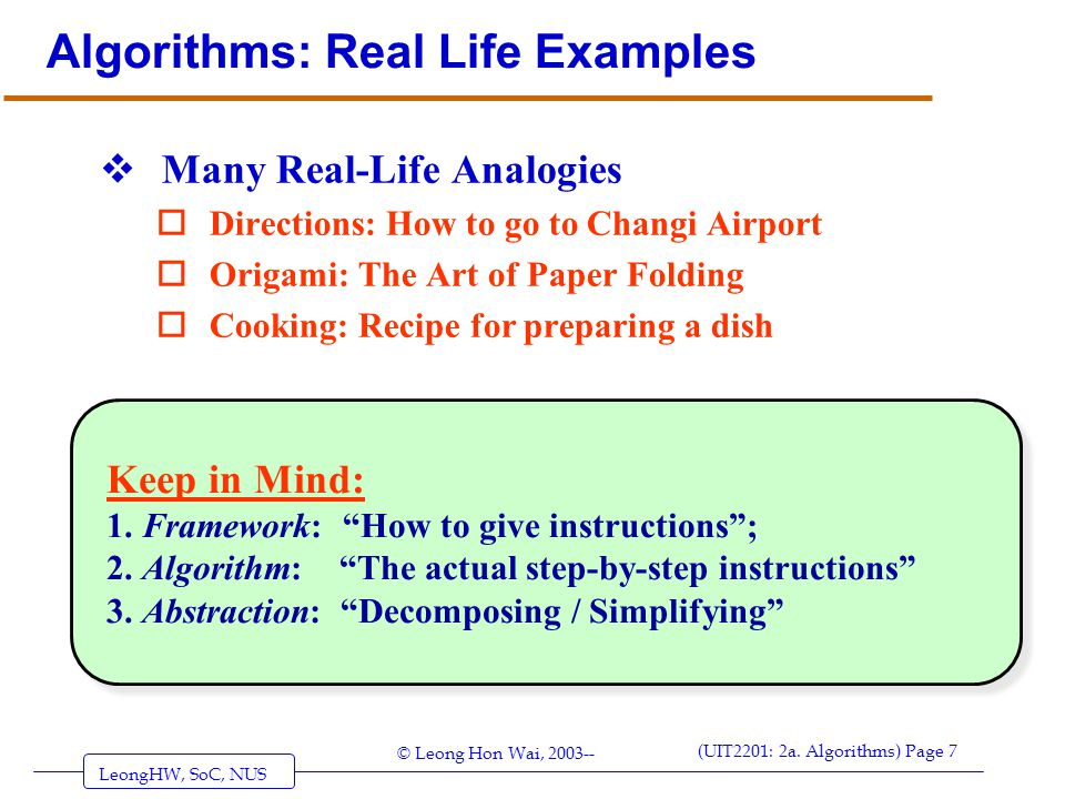 Algorithms: Real Life Examples