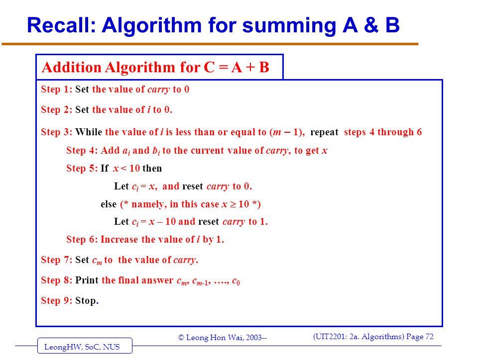 Recall: Algorithm for summing A & B