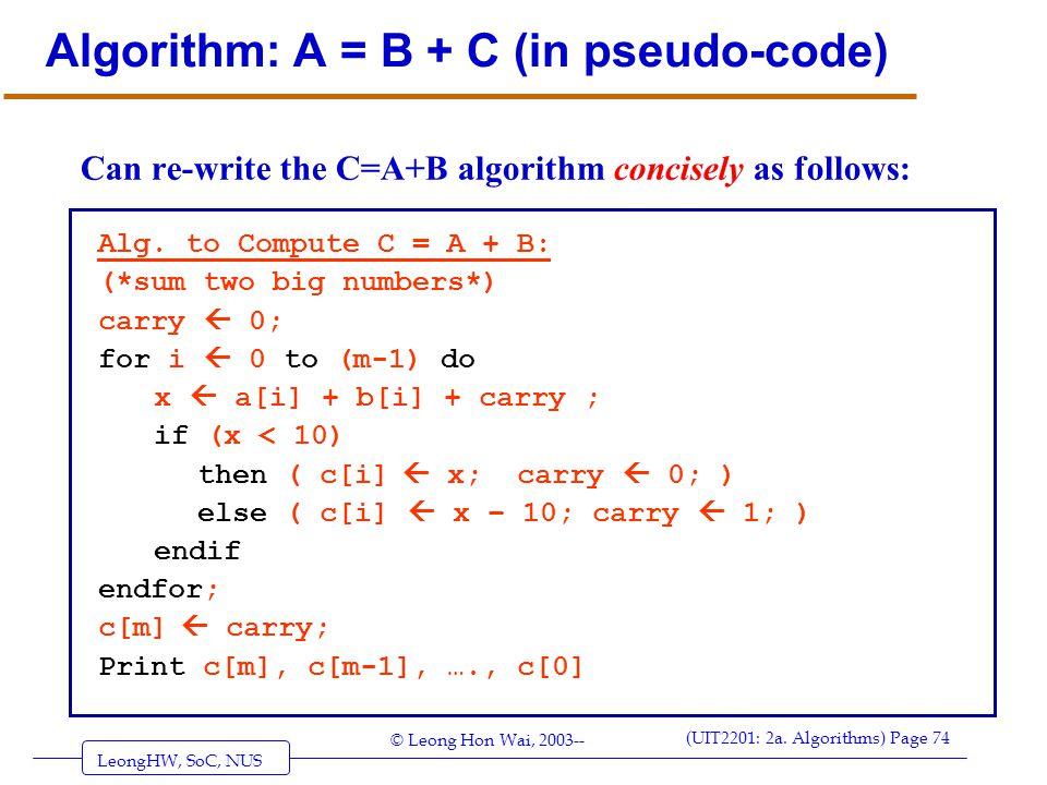 Algorithm: A = B + C (in pseudo-code)