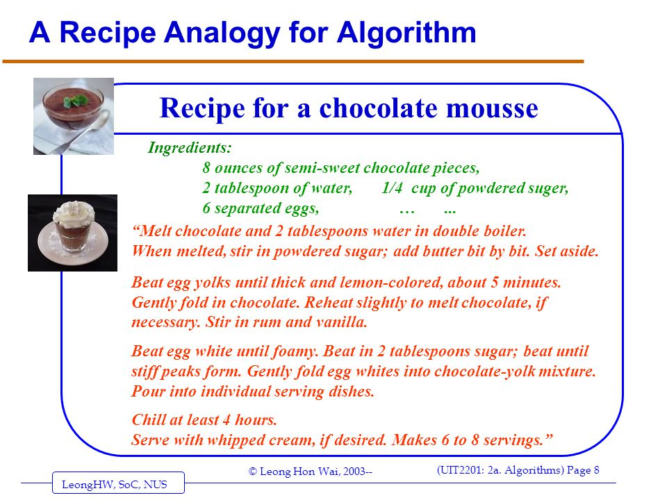 A Recipe Analogy for Algorithm