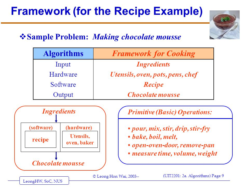 Framework (for the Recipe Example)