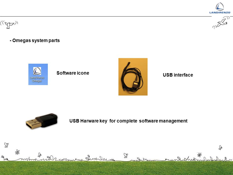 - Omegas system parts Software icone. USB interface.