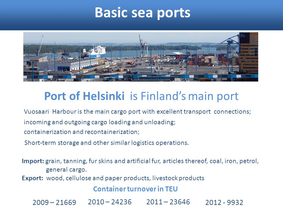Basic sea ports Port of Helsinki is Finland's main port