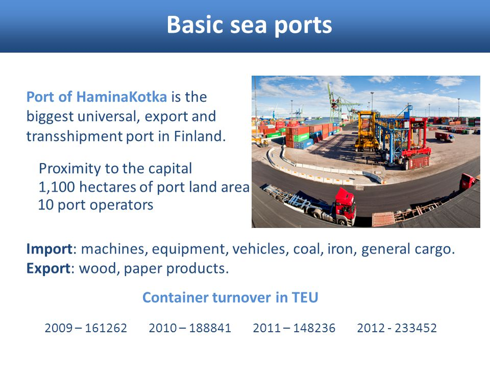 Basic sea ports Port of HaminaKotka is the