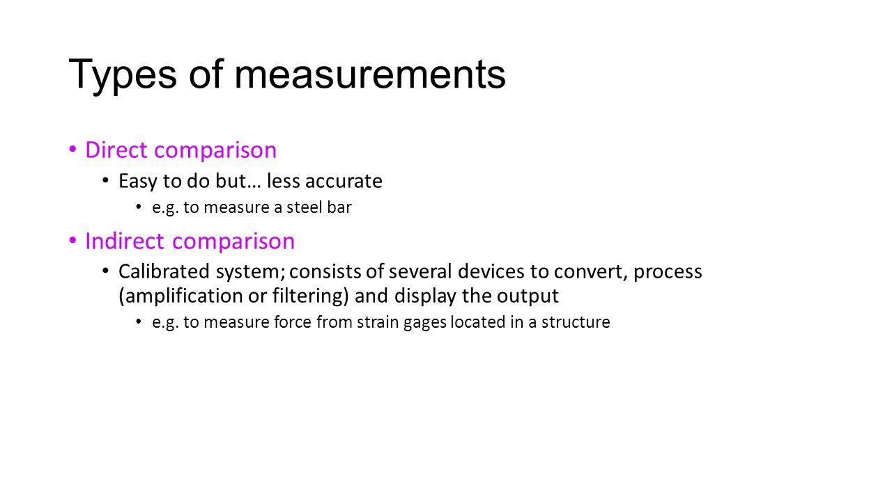 Types of measurements Direct comparison Indirect comparison