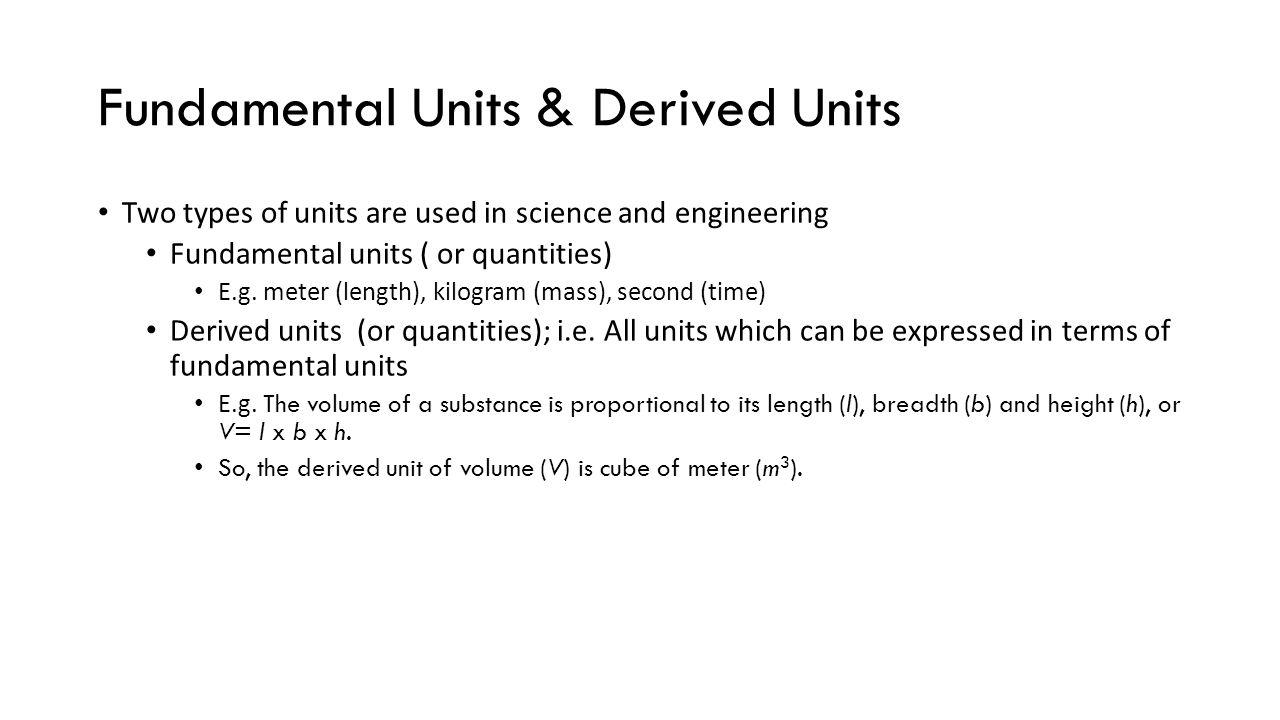 Fundamental Units & Derived Units