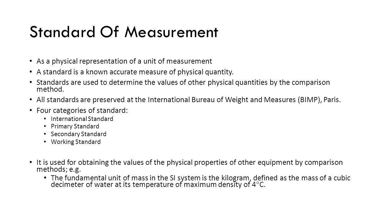 Standard Of Measurement