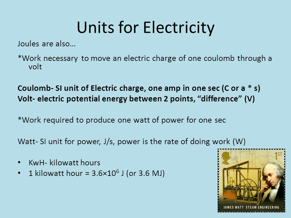 Units for Electricity Joules are also…