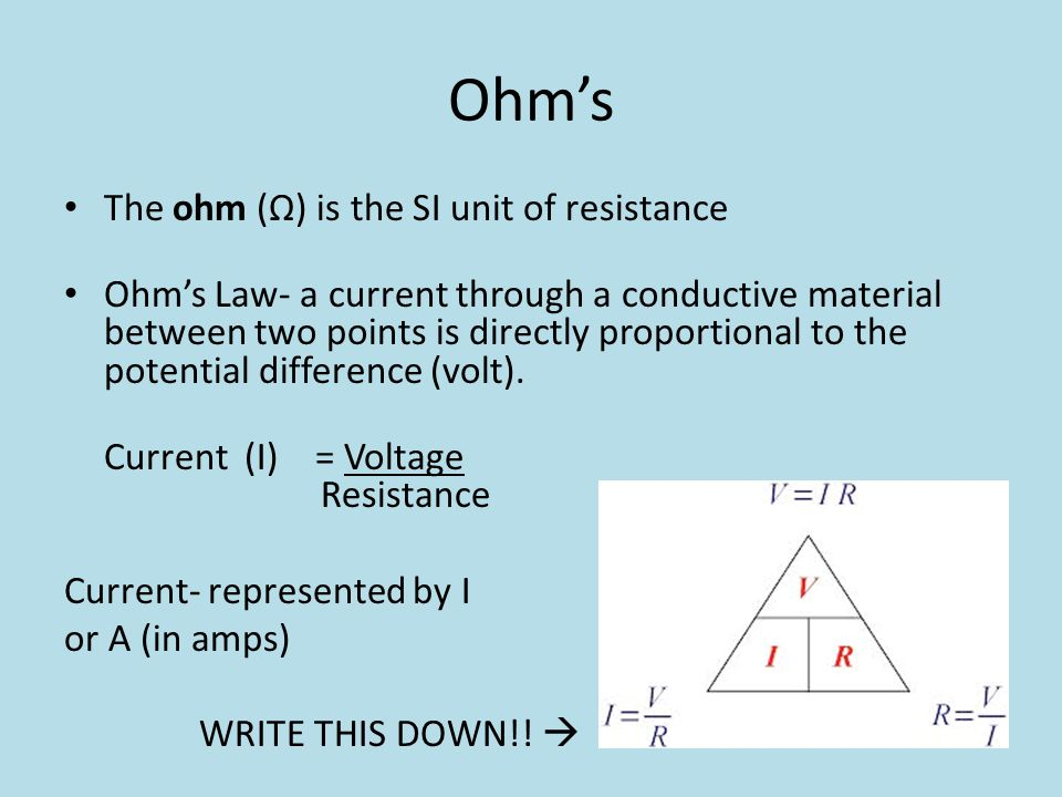 Ohm's The ohm (Ω) is the SI unit of resistance