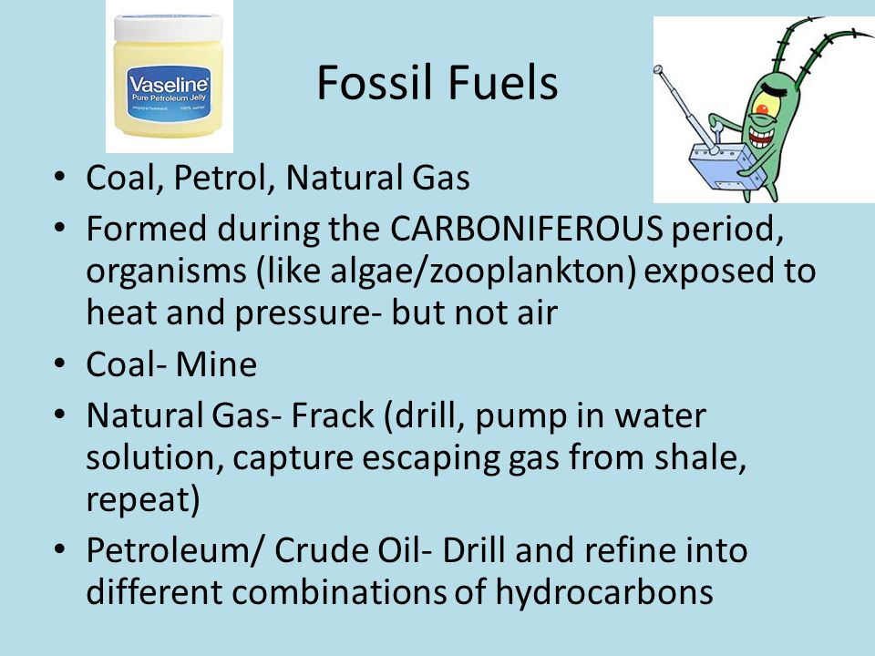 Fossil Fuels Coal, Petrol, Natural Gas