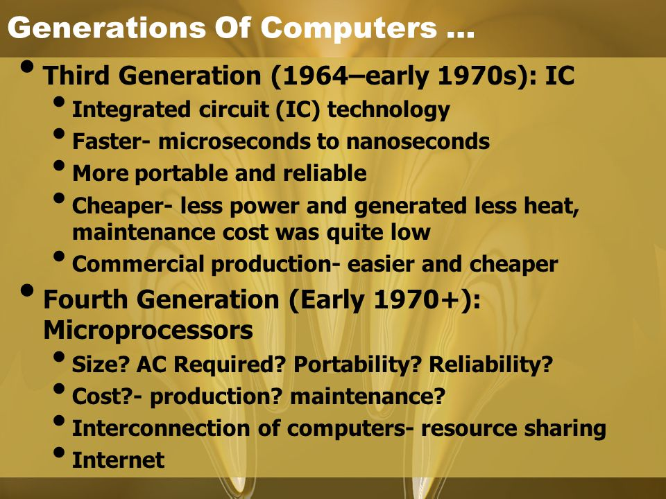 Generations Of Computers …