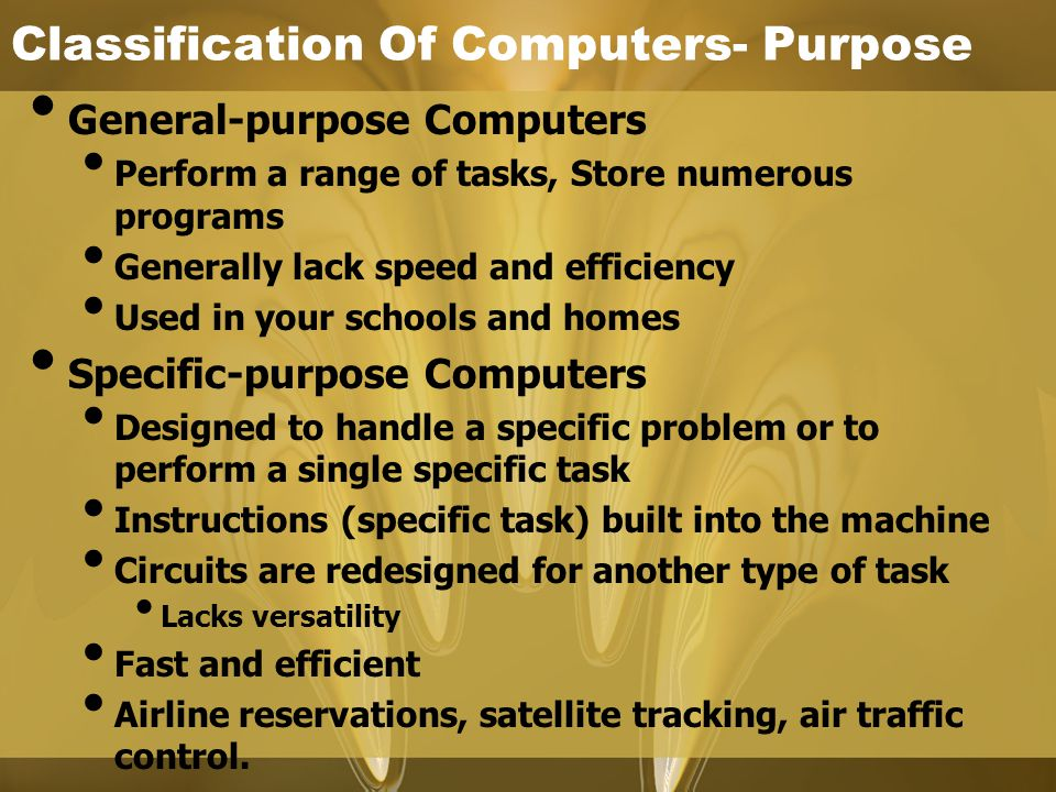 Classification Of Computers- Purpose