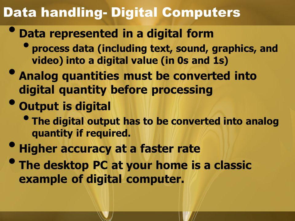 Data handling- Digital Computers