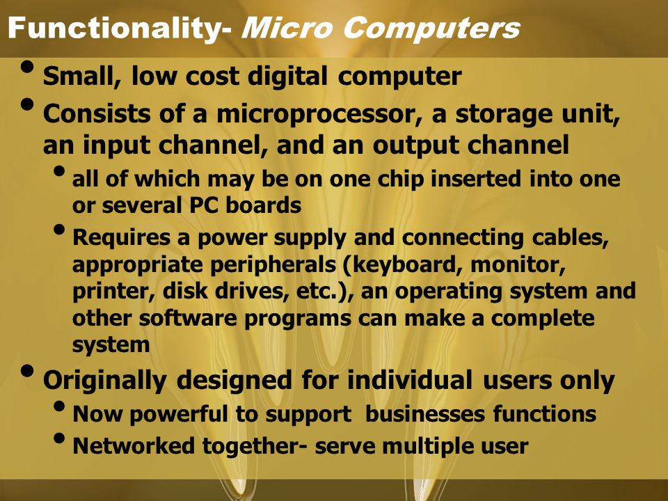 Functionality- Micro Computers