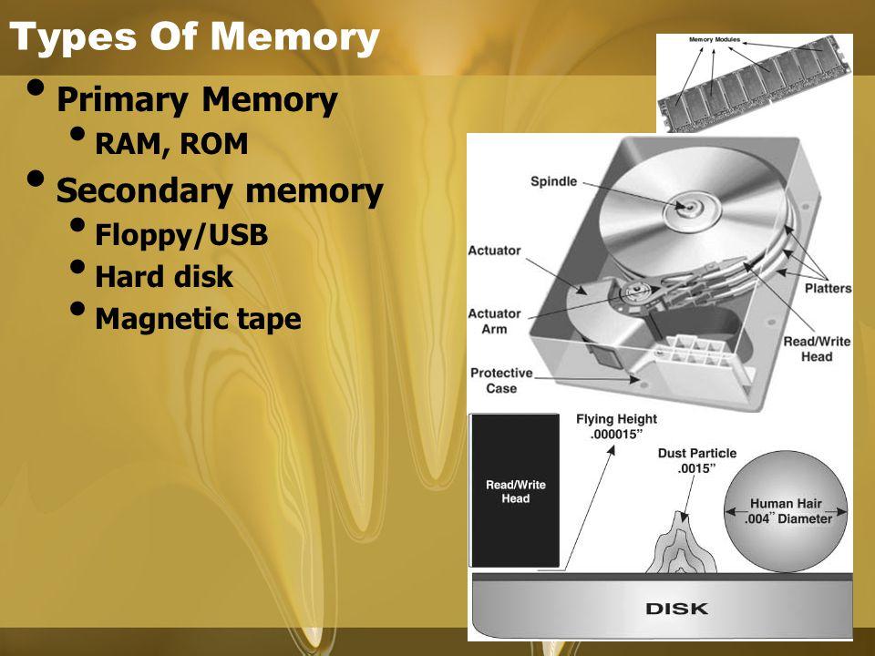 Types Of Memory Primary Memory Secondary memory RAM, ROM Floppy/USB