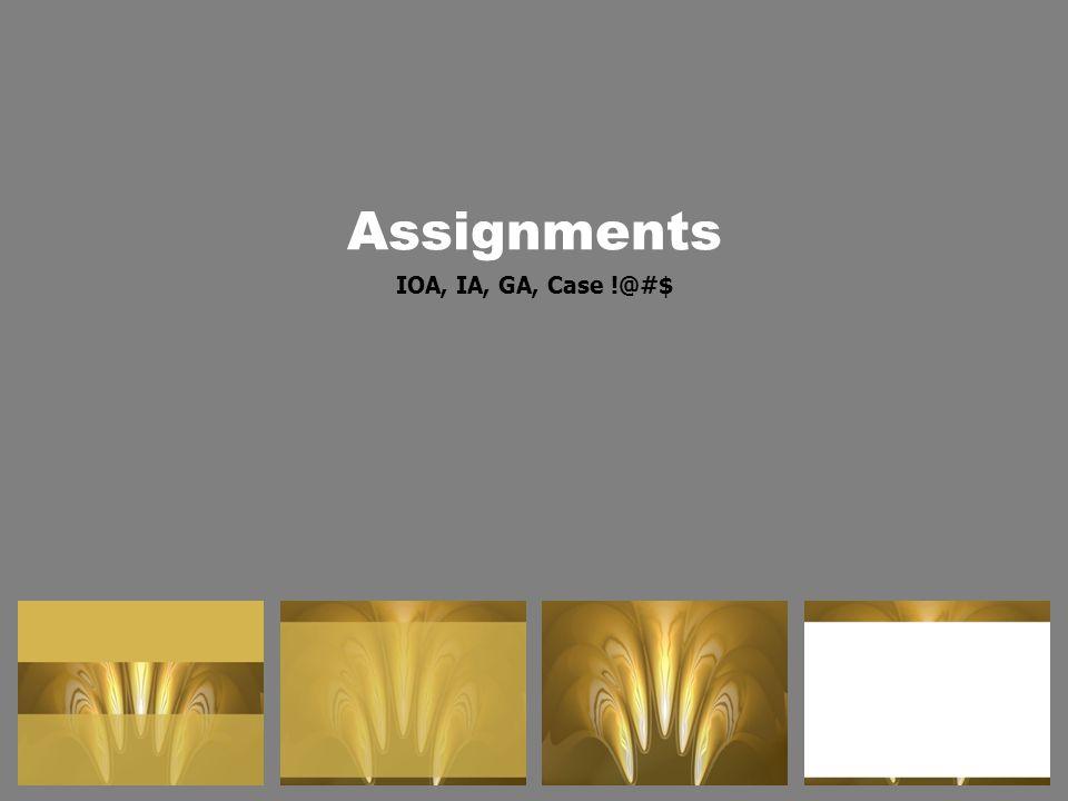 Assignments IOA, IA, GA, Case !@#$