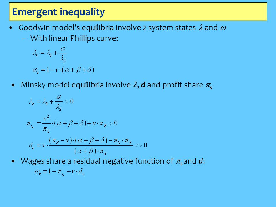 Emergent inequality Goodwin model's equilibria involve 2 system states l and w. With linear Phillips curve: