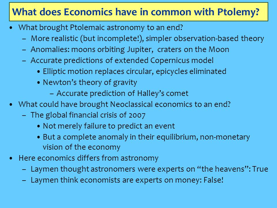 What does Economics have in common with Ptolemy