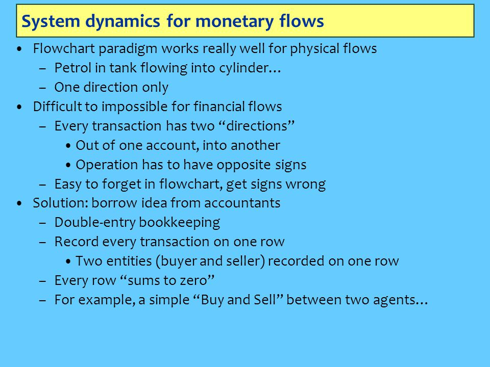 System dynamics for monetary flows